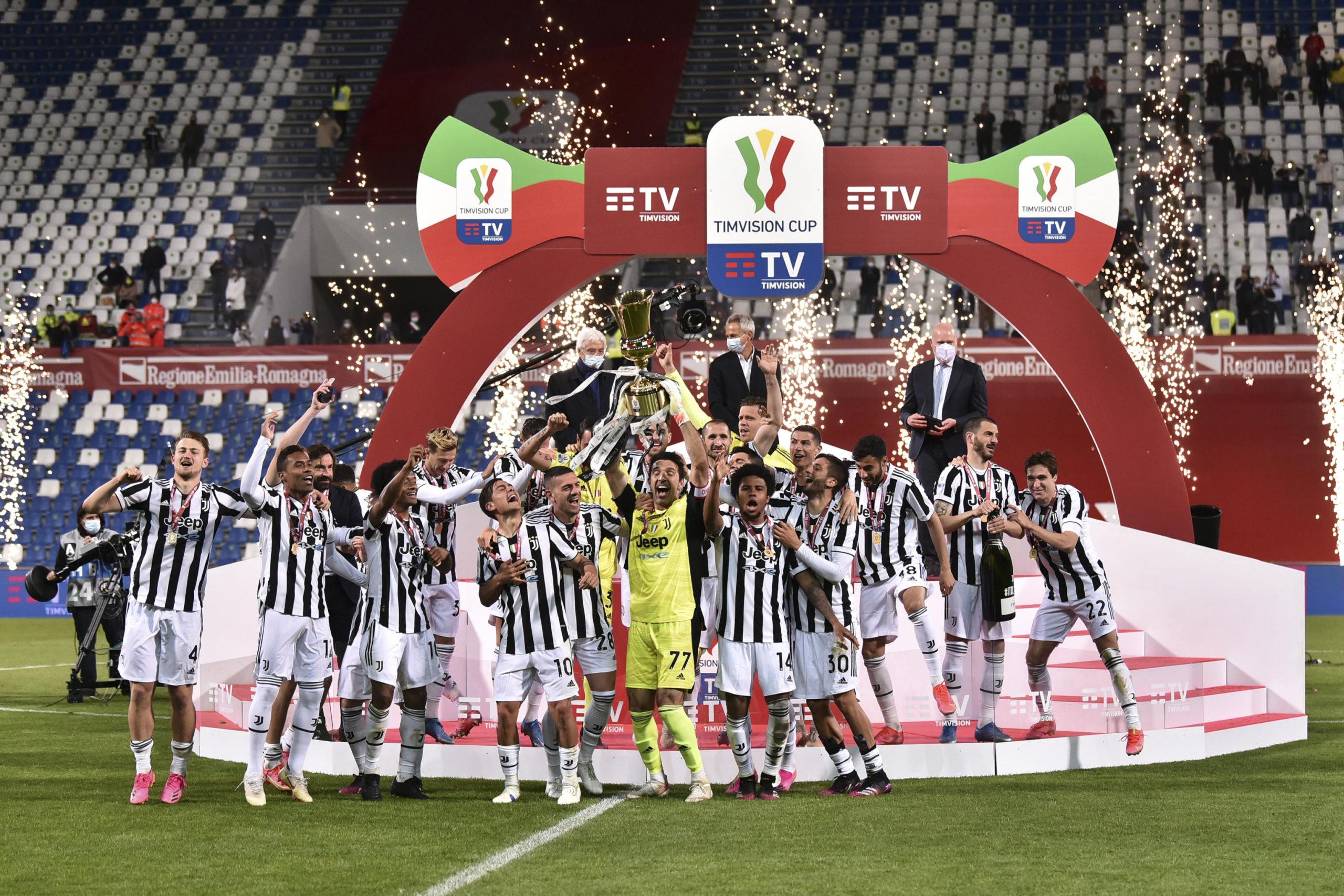 Gigi Buffon lifts the Coppa Italia after Juventus beat Atalanta