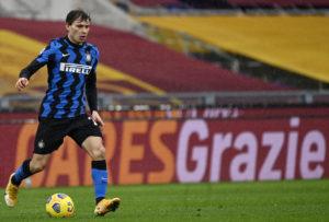 Inter midfielder Nicolo Barella in action against Roma