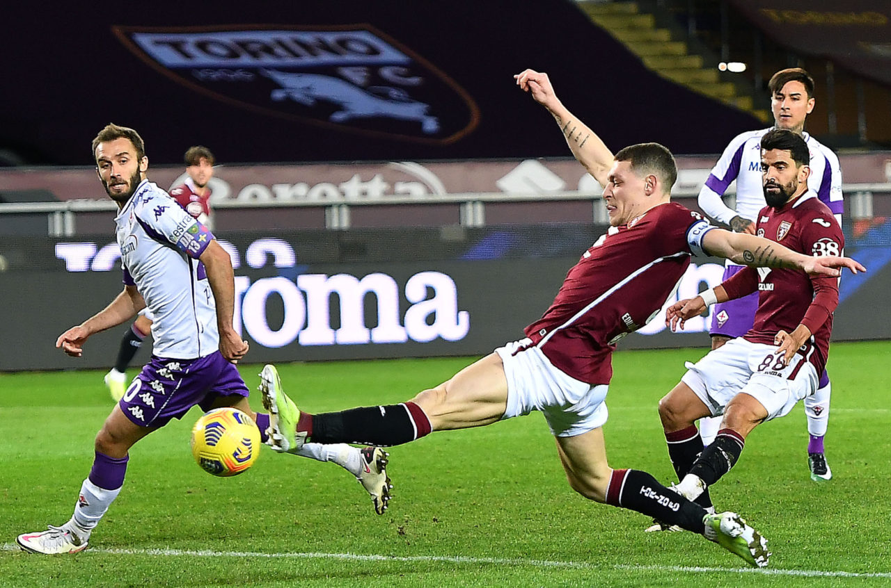 Andrea Belotti scores for Torino against Fiorentina