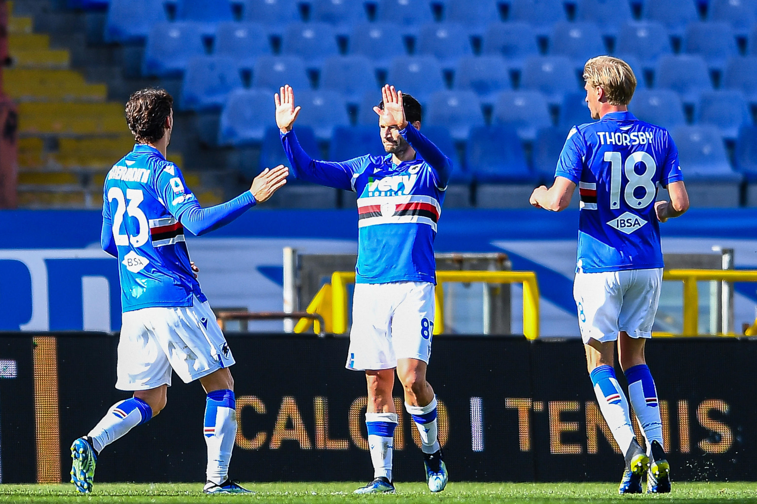 Sampdoria's Antonio Candreva celebrates a goal against Torino