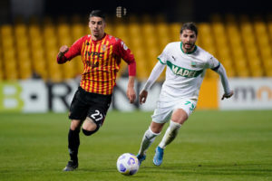 Benevento's Fabio Depaoli and Sassuolo's Manuel Locatelli