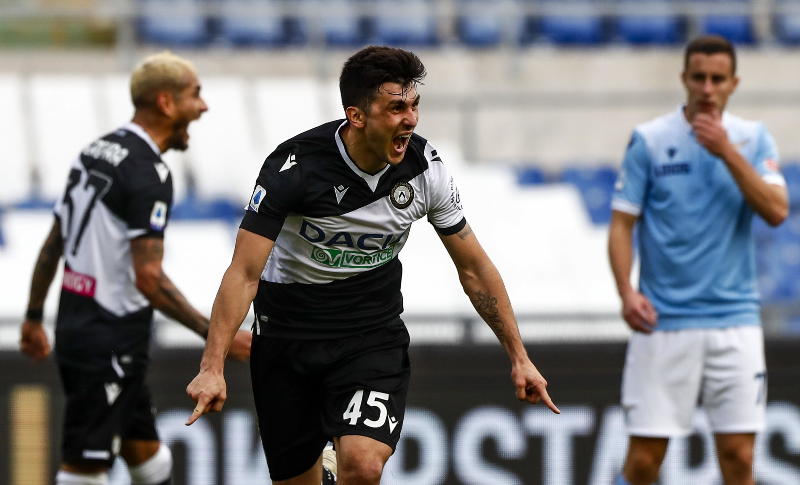 Fernando Forestieri celebrates scoring for Udinese at Lazio