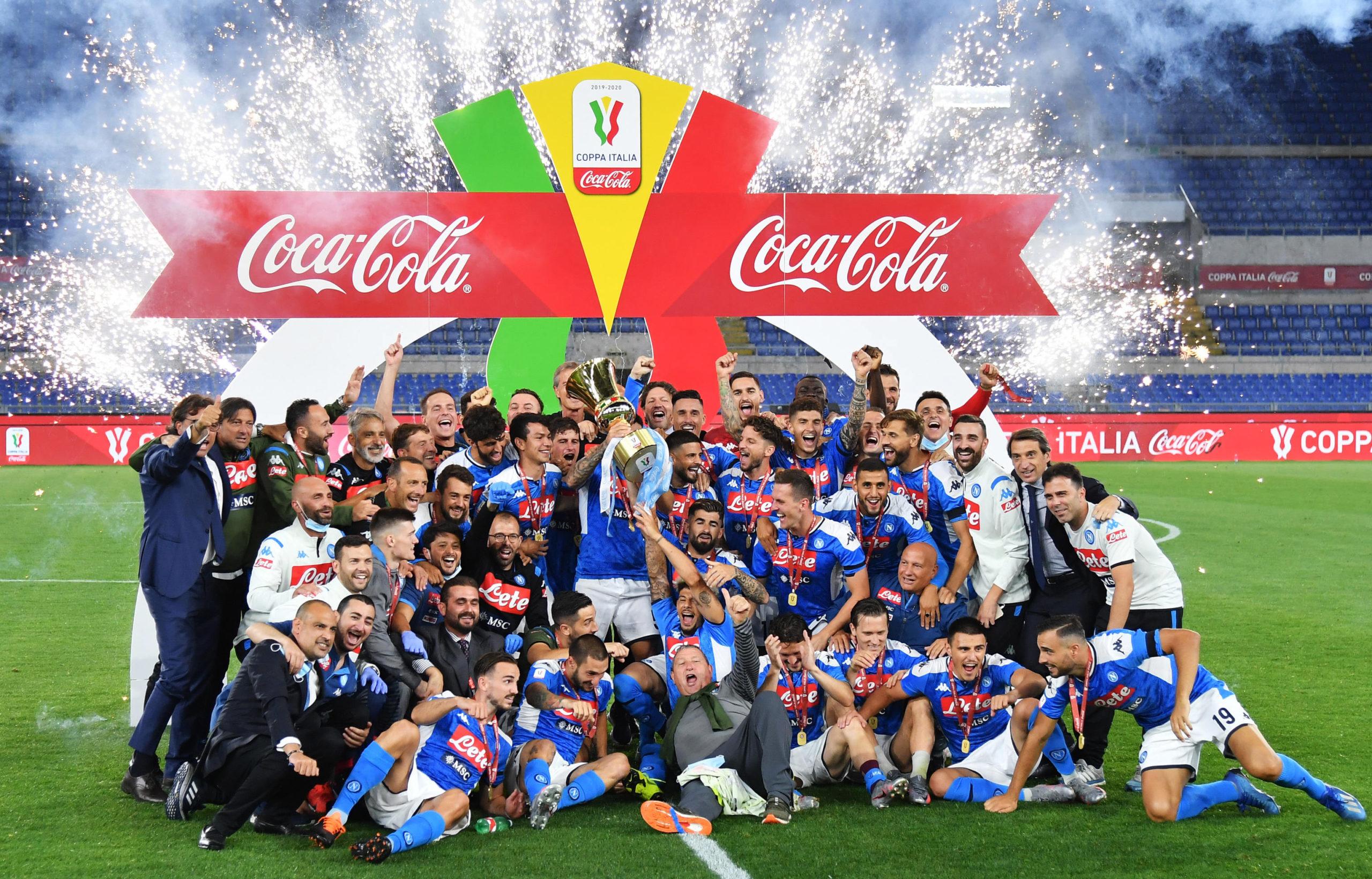 Players of Napoli celebrate with the Coppa Italia