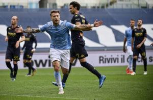 Ciro Immobile celebrates scoring against Genoa
