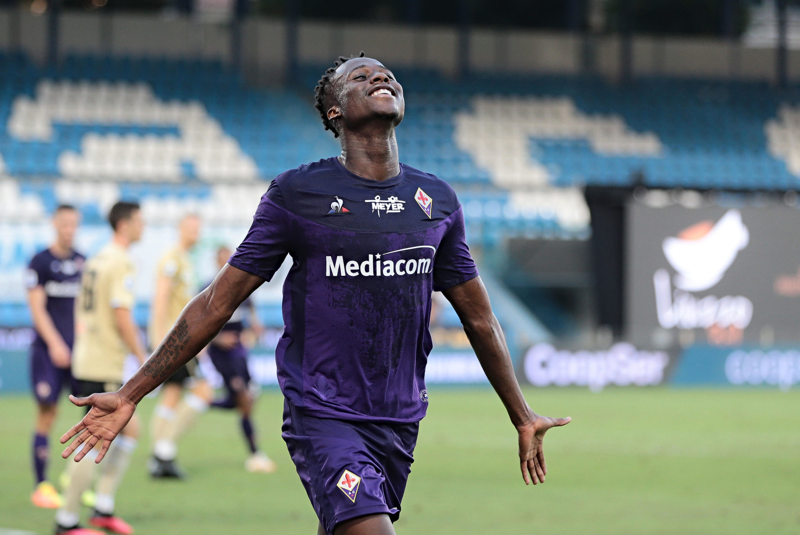 Fiorentina's Christian Kouame celebrates a goal against SPAL