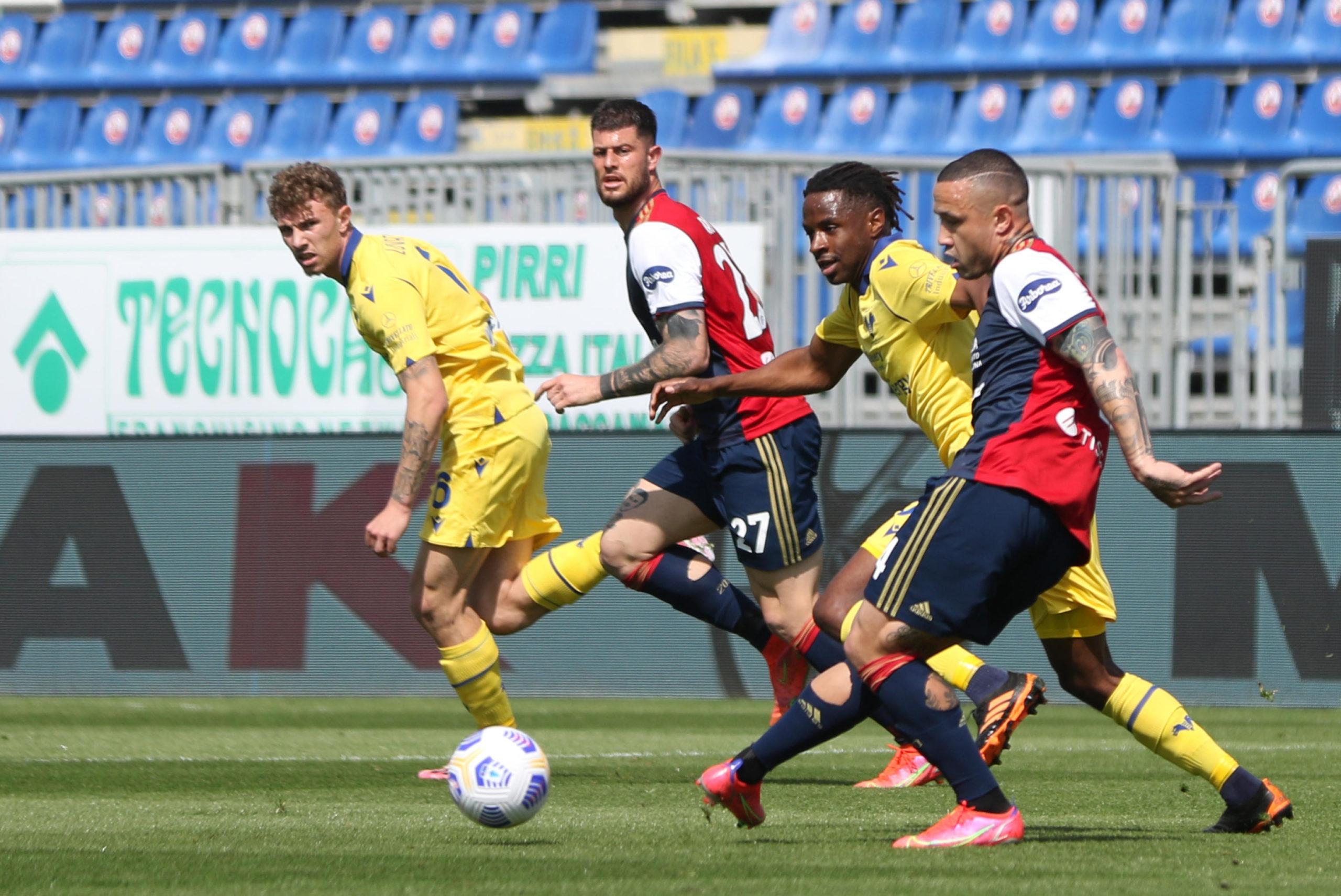 Radja Nainggolan in action for Cagliari against Verona