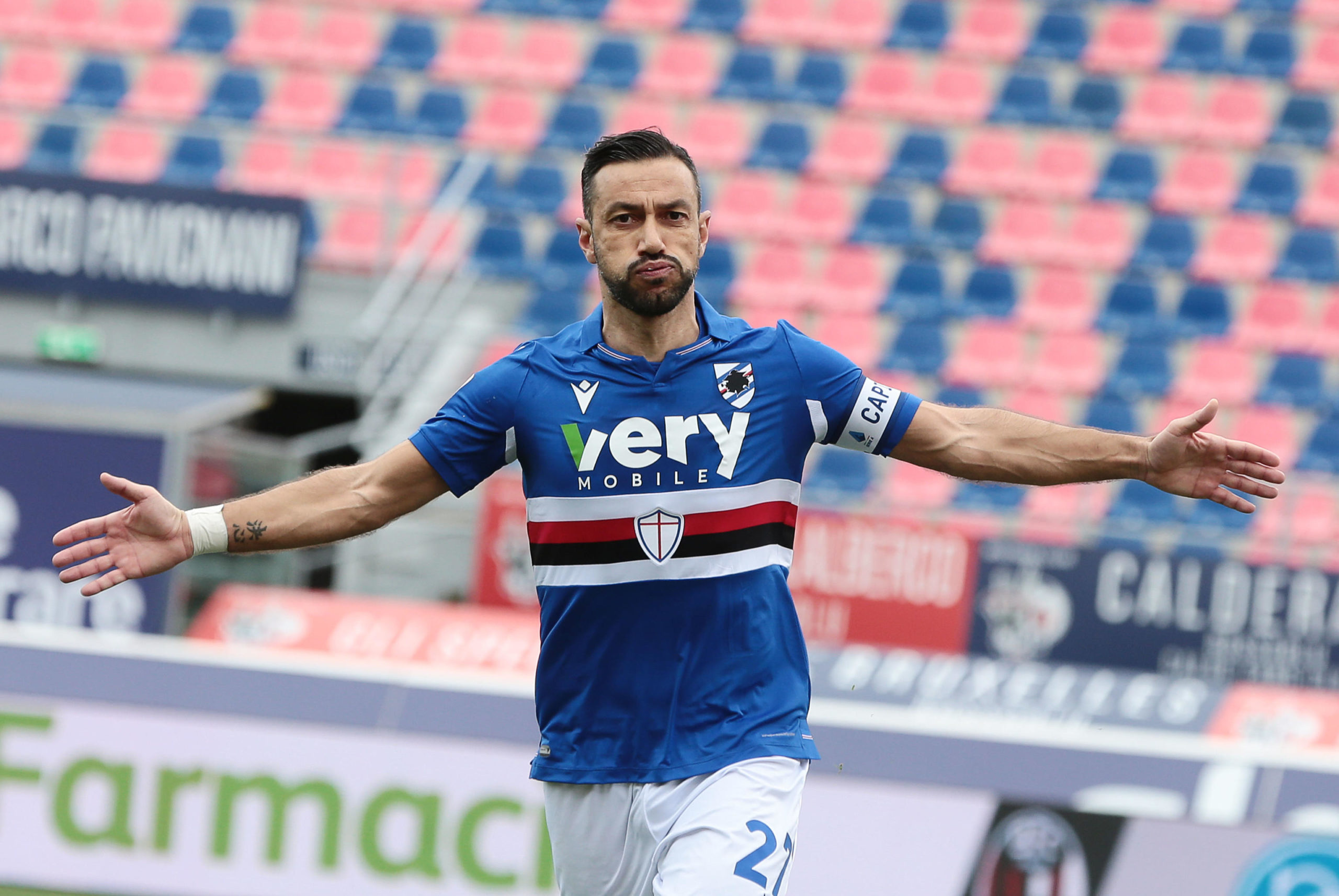 Fabio Quagliarella celebrates a goal