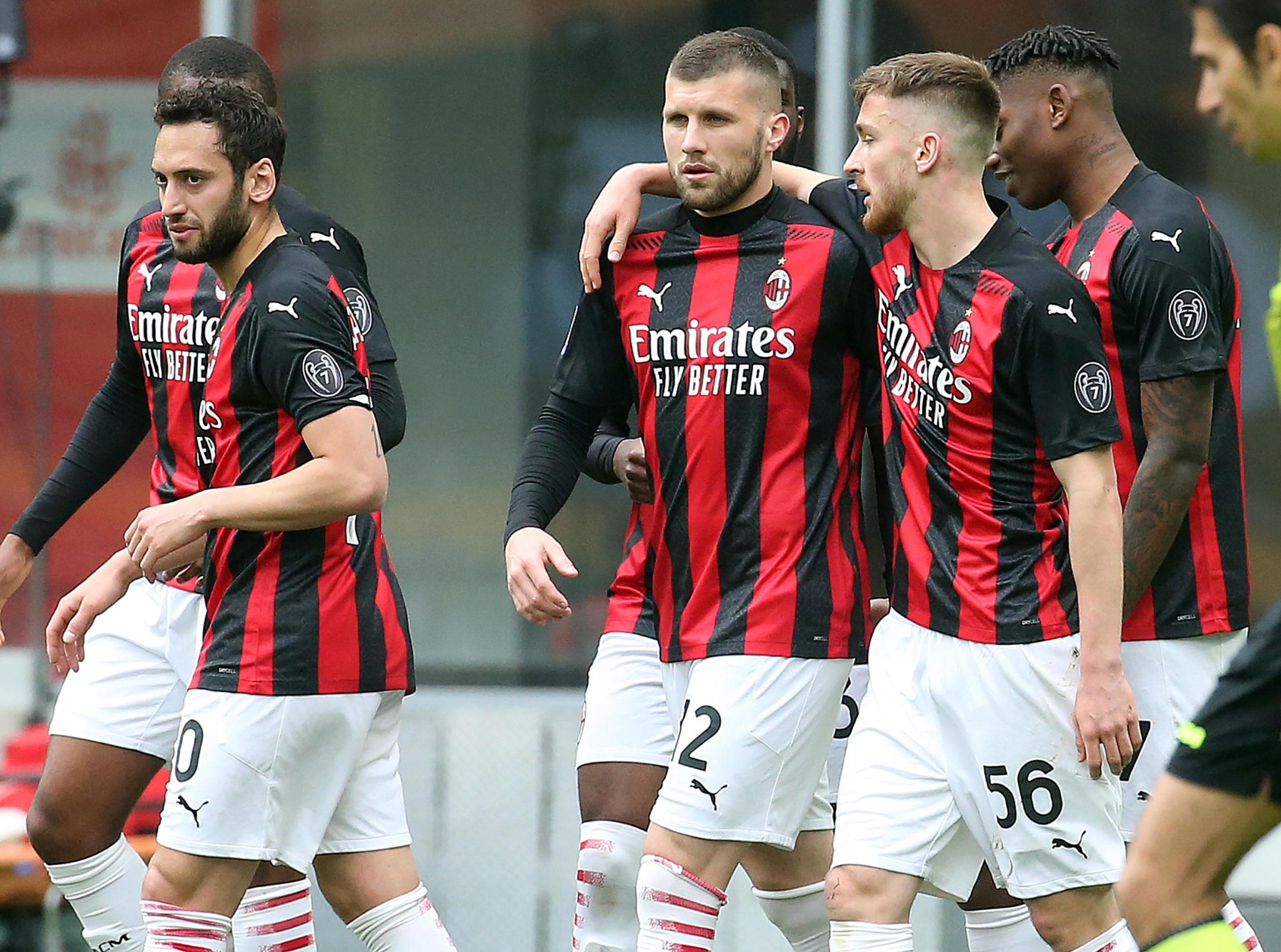 Ante Rebic celebrates a goal with his Milan teammates