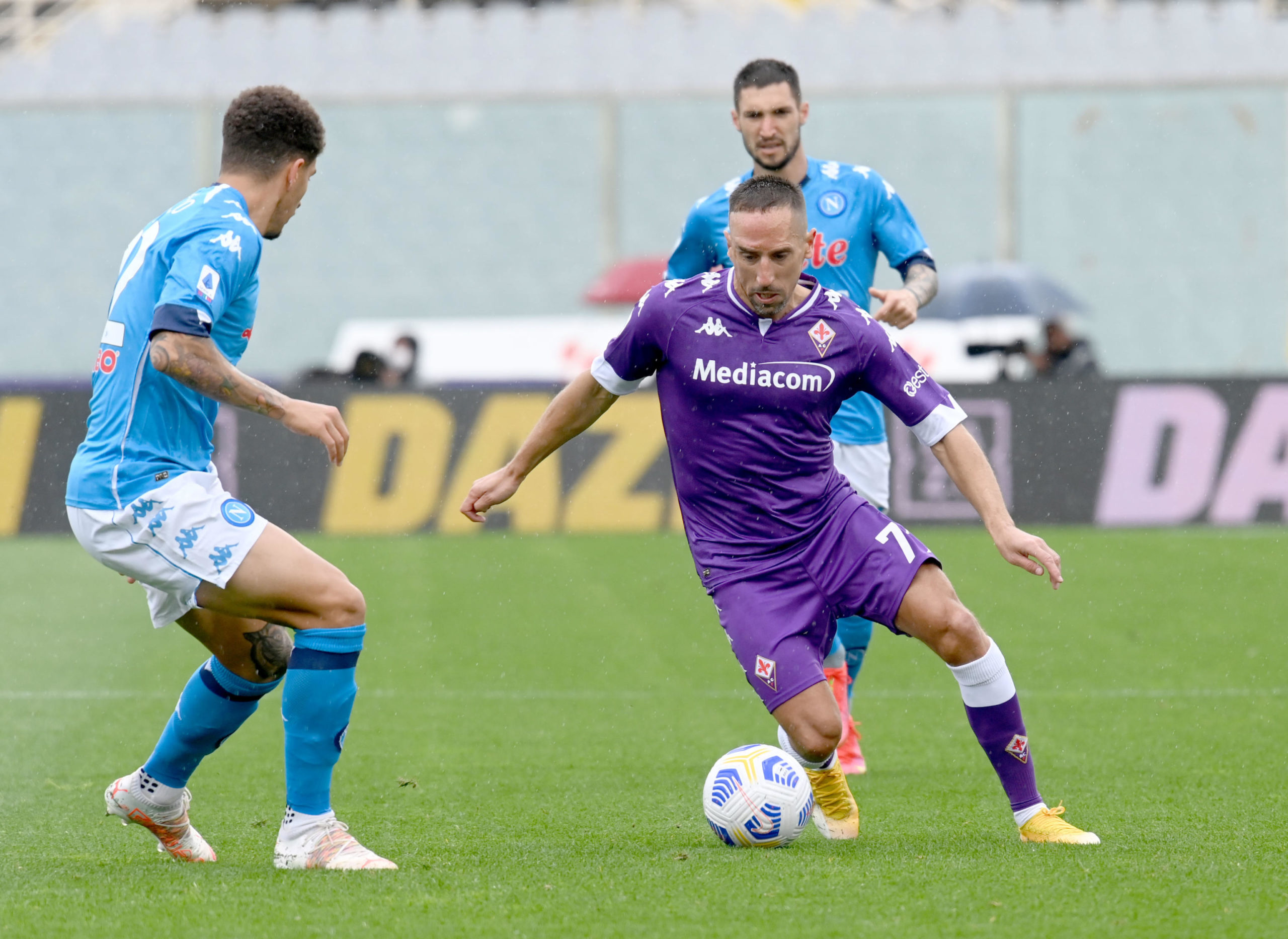 Franck Ribery in action for Fiorentina against Napoli