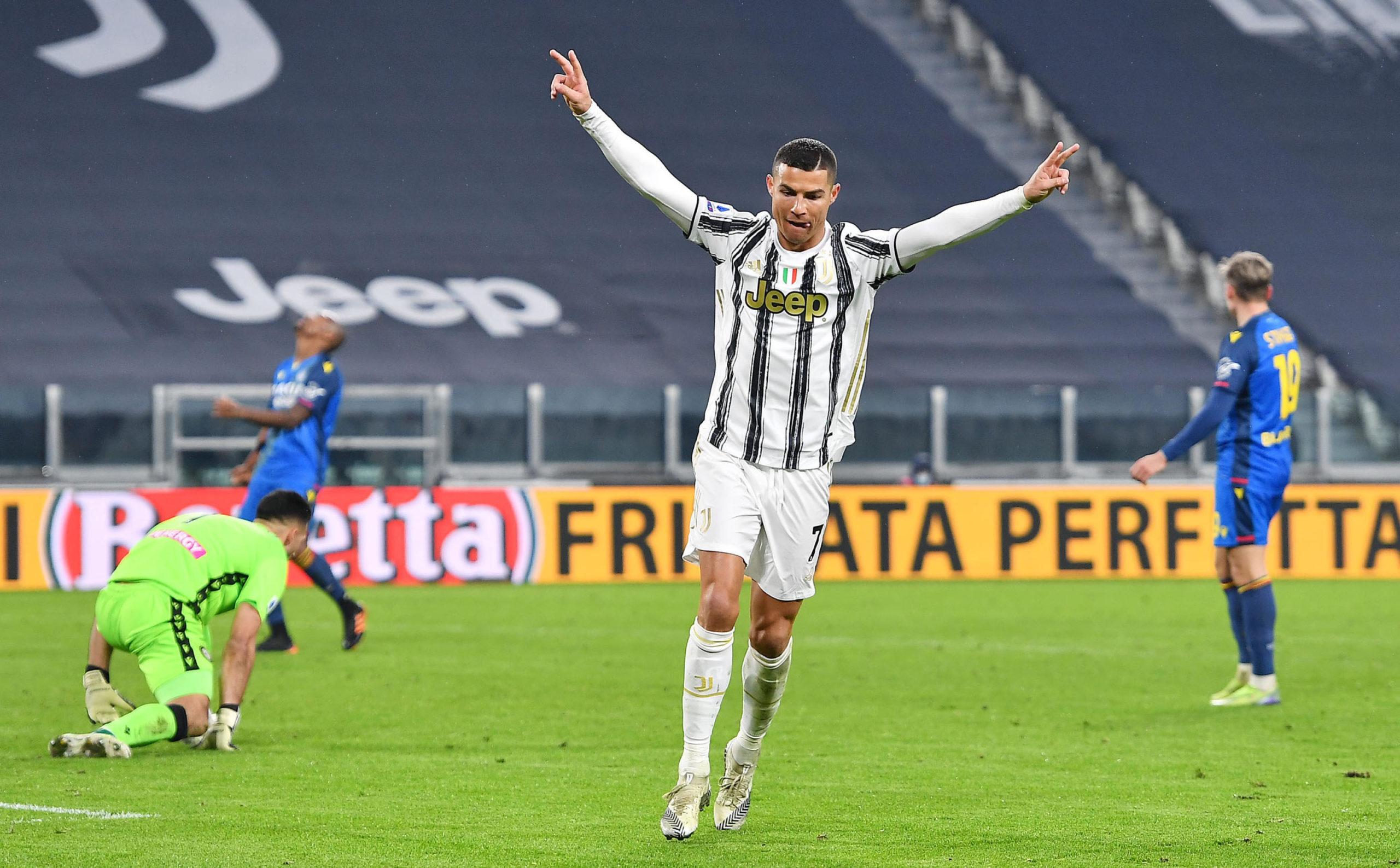 Cristiano Ronaldo celebrates one of his 29 Serie A goals this season