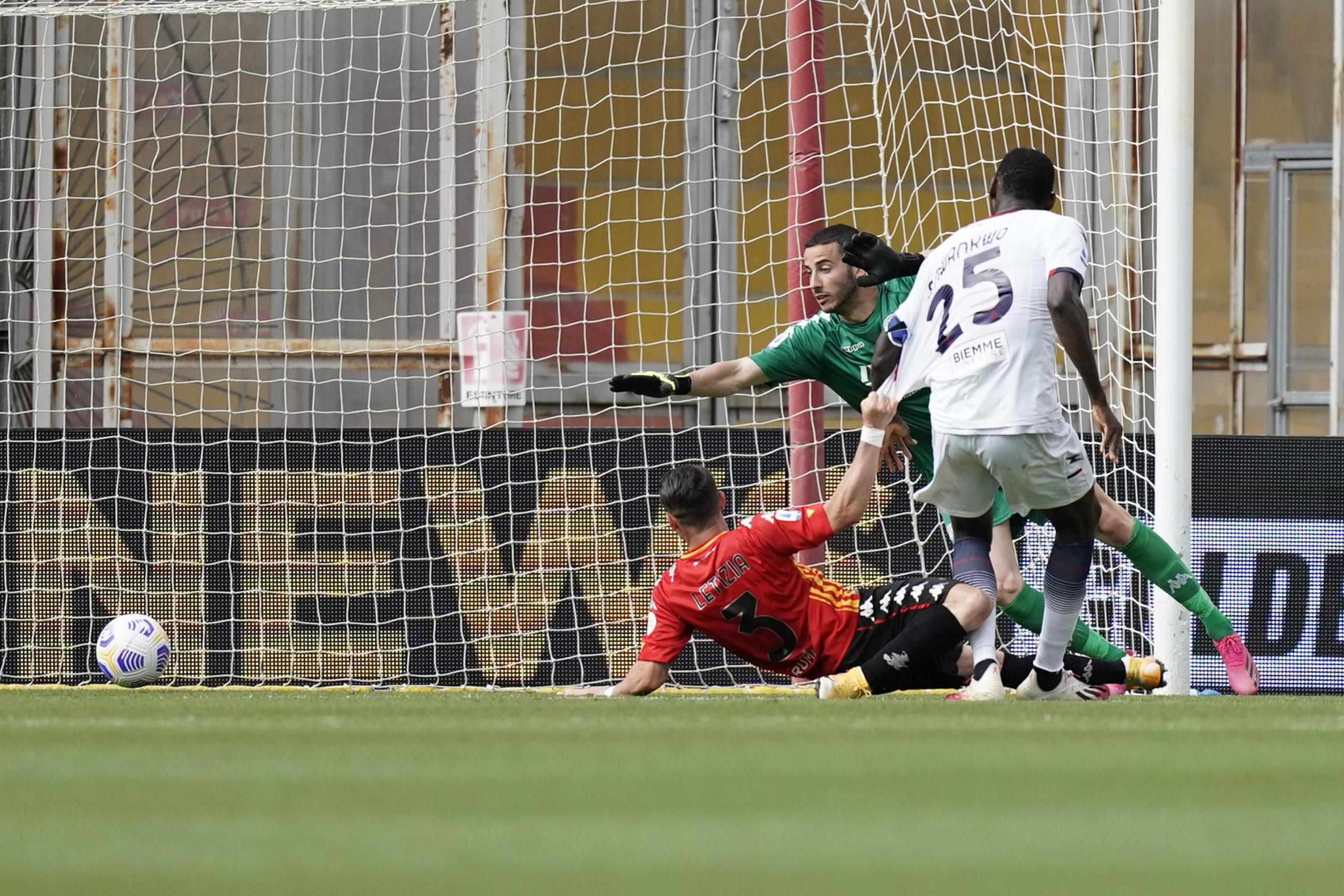Crotone striker Simy scores against Benevento