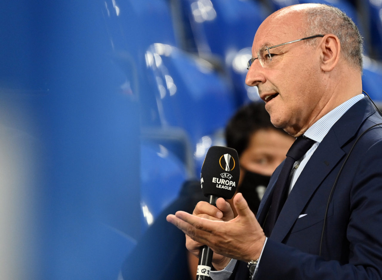 epa08586129 Inter Milan CEO for sport Giuseppe Marotta gives a TV interview before the UEFA Europa League Round of 16 match between Inter Milan and Getafe in Gelsenkirchen, Germany, 05 August 2020. EPA-EFE/Ina Fassbender / POOL