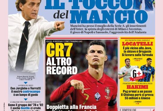 Today's Papers – Another CR7 record, Mancini's Italy recipe
