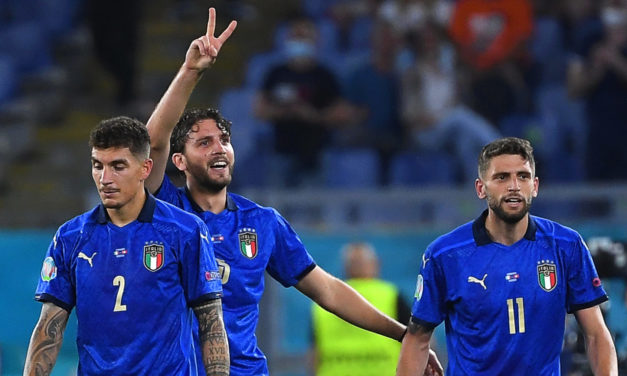 Locatelli is only the third Italy player to score a brace in the Euros