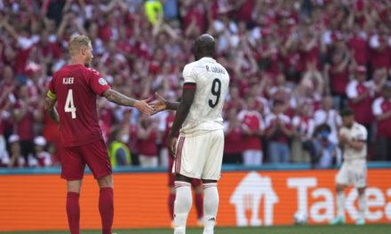 Video: Lukaku looks emotional as Denmark and Belgium pay tribute to Eriksen