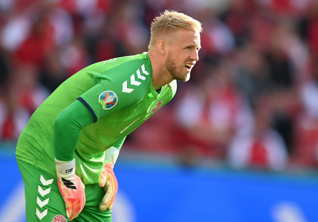 epa09265322 Goalkeeper Kasper Schmeichel of Denmark reacts during the UEFA EURO 2020 group B preliminary round soccer match between Denmark and Finland in Copenhagen, Denmark, 12 June 2021. EPA-EFE/Stuart Franklin / POOL (RESTRICTIONS: For editorial news reporting purposes only. Images must appear as still images and must not emulate match action video footage. Photographs published in online publications shall have an interval of at least 20 seconds between the posting.)