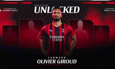 Giroud arrives at Milanello