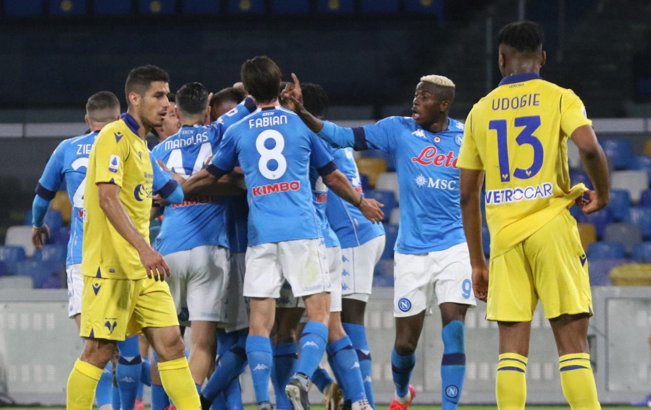 Amir Rrahmani celebrates goal against Verona