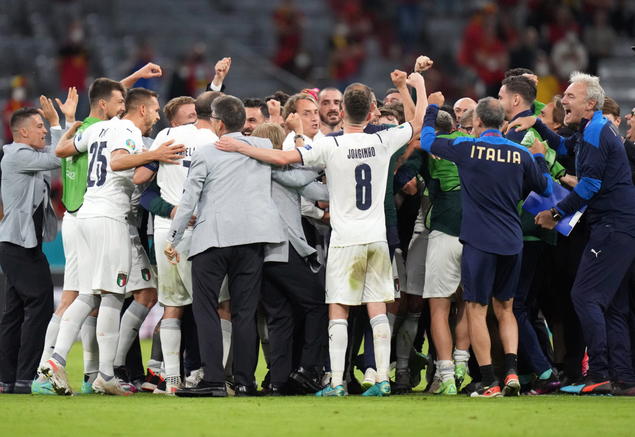Players of Italy react after winning the UEFA EURO 2020 quarter final match between Belgium and Italy in Munich, Germany.