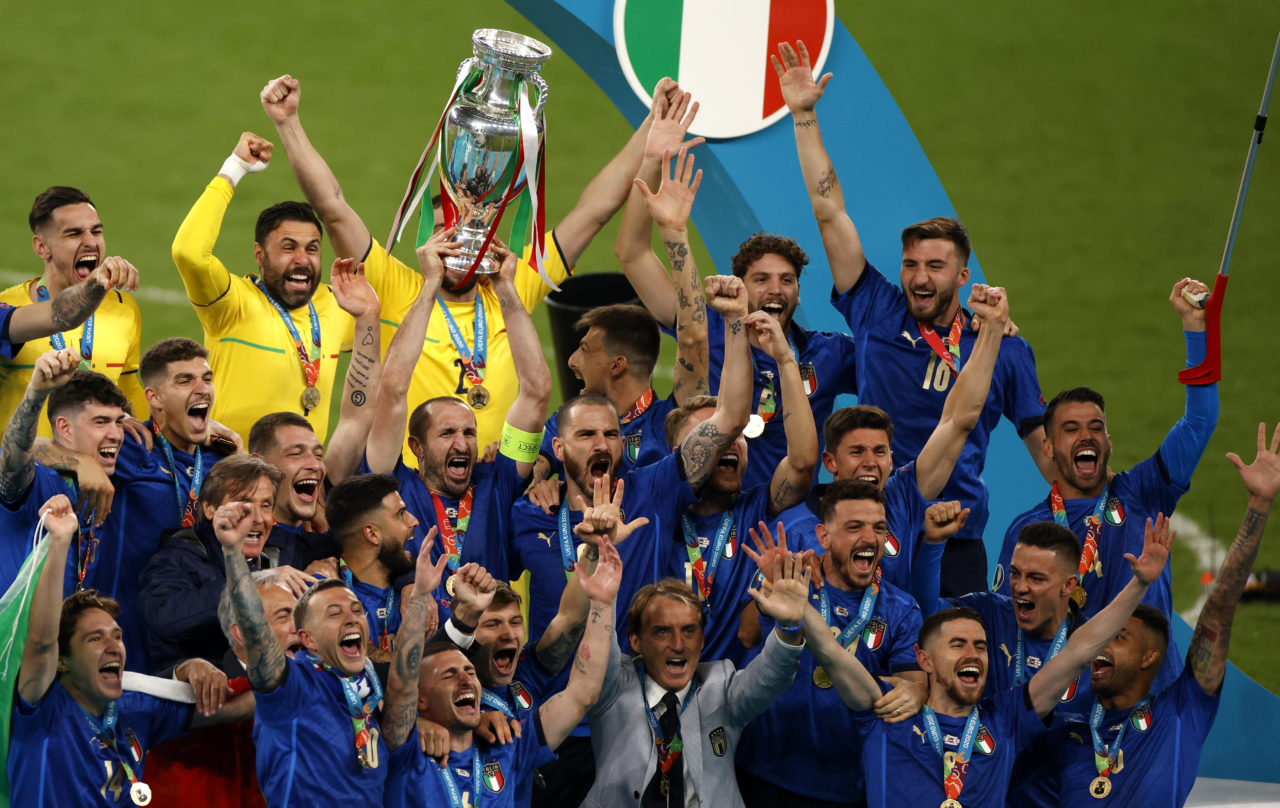 Captain Giorgio Chiellini of Italy lifts the trophy after Italy won the UEFA EURO 2020 final between Italy and England in London, Britain, 11 July 2021.