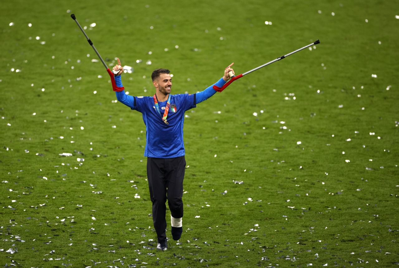 Italian player Leonardo Spinazzola who was injured earlier in the tournament celebrates after Italy won the UEFA EURO 2020 final between Italy and England in London
