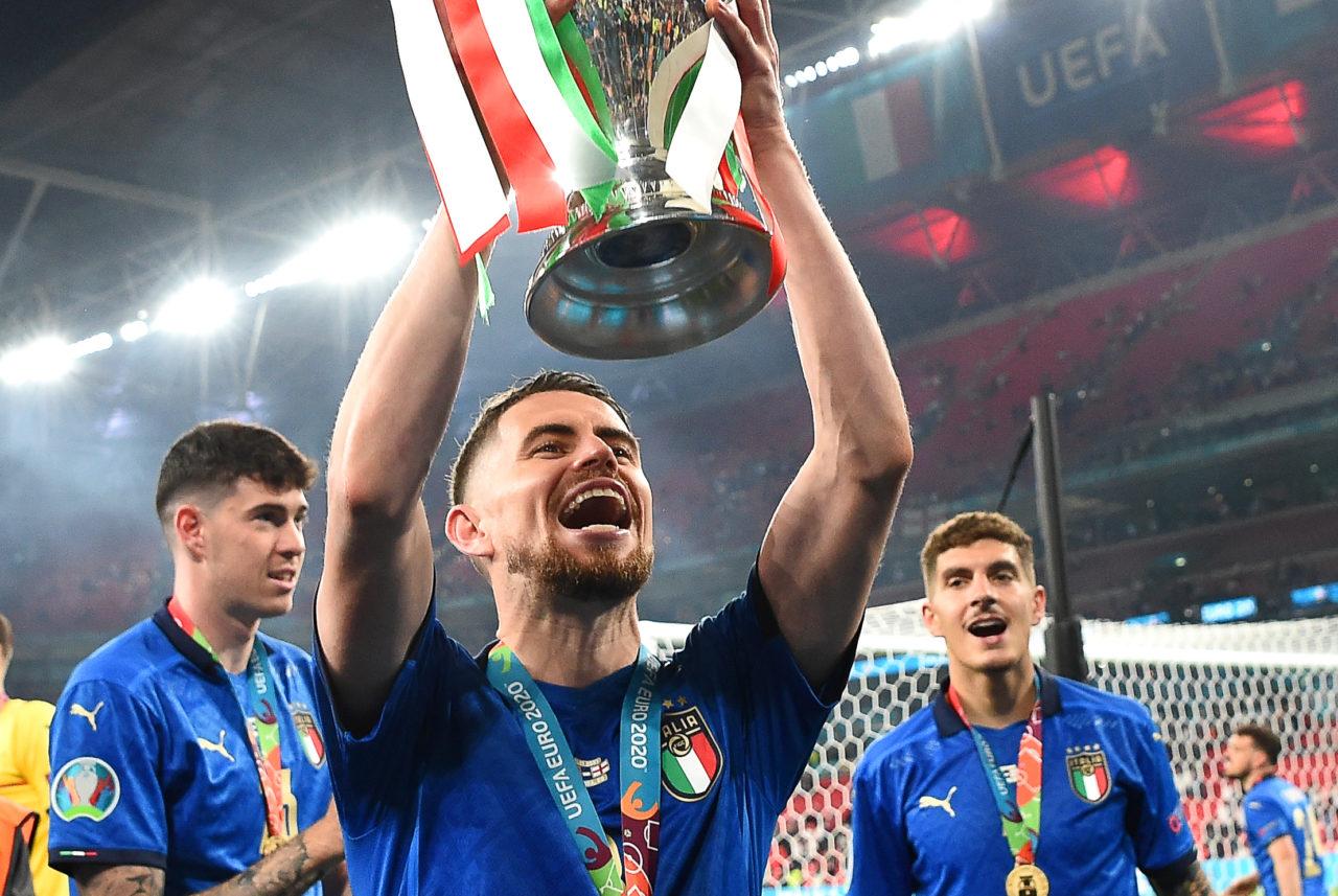 Jorginho with the trophy