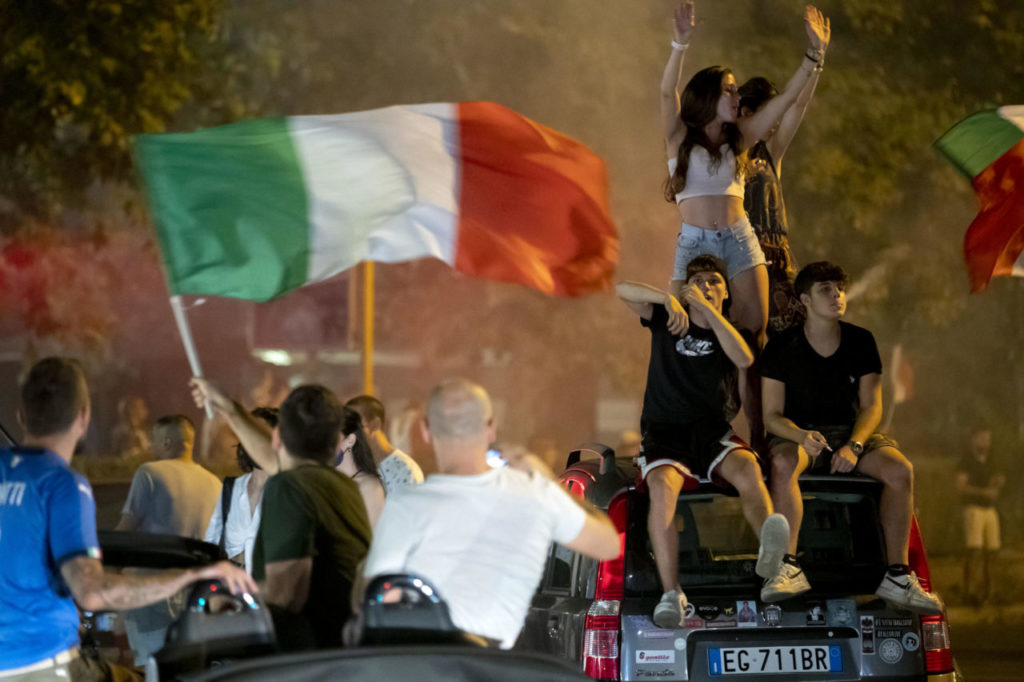 Italy's supporters celebrate their team's victory in the UEFA EURO 2020 Championship at the end of the final against England, played at the Wembley stadium in London; in Rome, Italy, 11 July 2021.