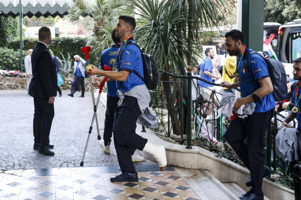 Leonardo Spinazzola arrives in Rome, Italy, 12 July 2021, after Italy won the UEFA EURO 2020 final against England.
