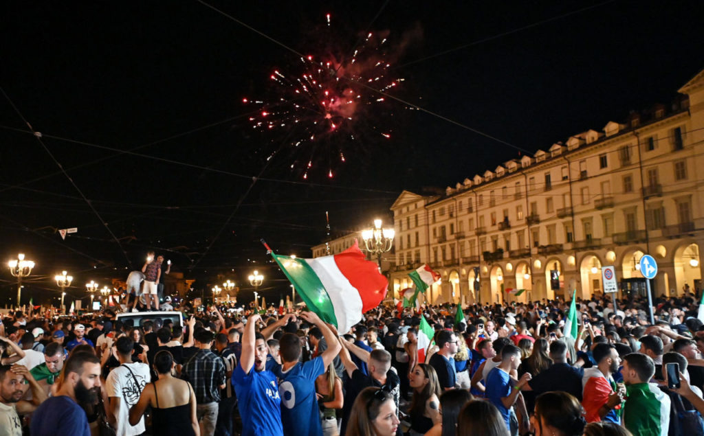 Italy's supporters celebrate the team's victory at the end of the UEFA EURO 2020 Championship final between Italy and England, in Turin