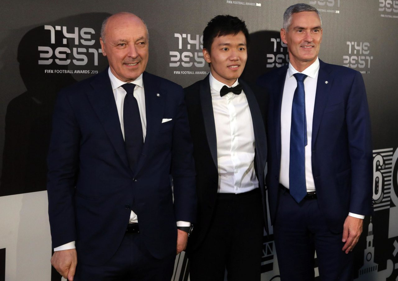 epa07866201 Picture made available 24 September 2019 of (L- R) Chief Executive Officer Sport FC Internazionale Giuseppe Marotta, President FC Internazionale Steven Zhang Kangyang and Chief Executive Officer Corporate FC Internazionale Alessandro Antonello arriving for the Best FIFA Football Awards 2019 in Milan, Italy, 23 September 2019. EPA-EFE/MATTEO BAZZI