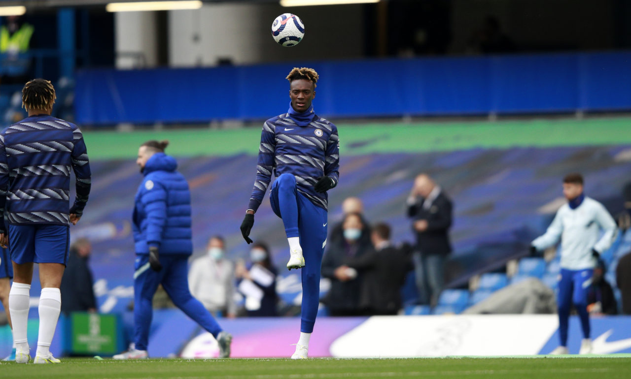 epa09172019 Tammy Abraham of Chelsea during the warm-up before the English Premier League soccer match between Chelsea FC and Fulham FC in London, Britain, 01 May 2021. EPA-EFE/Ian Walton / POOL EDITORIAL USE ONLY. No use with unauthorized audio, video, data, fixture lists, club/league logos or 'live' services. Online in-match use limited to 120 images, no video emulation. No use in betting, games or single club/league/player publications.