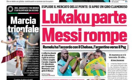 Today's Papers – Messi quits Barca, Chelsea raise Lukaku bid