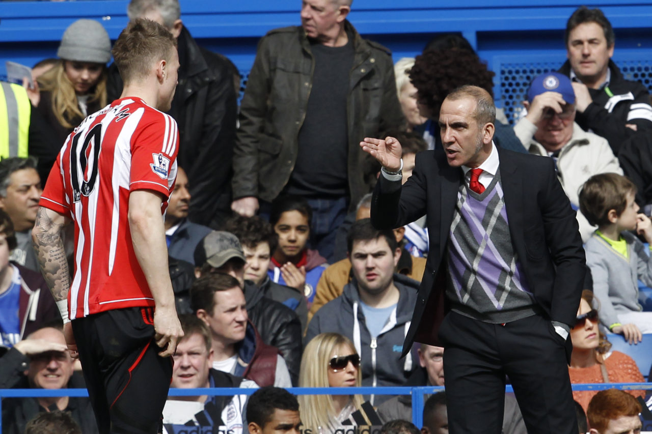 epa03652972 New Sunderland manager Paolo Di Canio reacts during the English Premier League soccer match between Chelsea FC and Sunderland at Stamford Bridge stadium, in London, Britain, 07 April 2013. EPA/TAL COHEN DataCo terms and conditions apply https://www.epa.eu/downloads/DataCo-TCs.pdf
