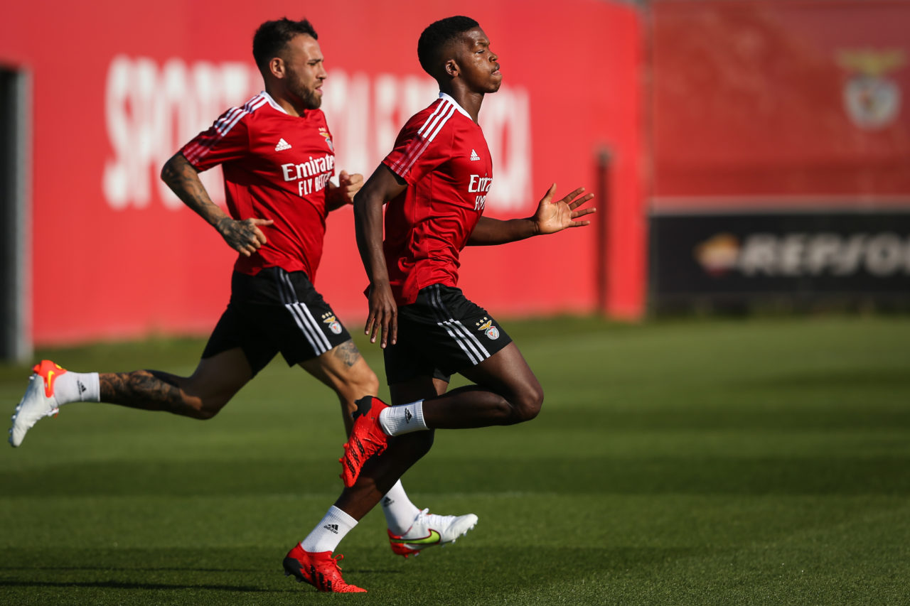 epa09407540 Benfica's players Otamendi (L) and Florentino (R) in action during a training session at Seixal training center in Seixal, Portugal, 09 August 2021. Benfica will face Spartak Moscow in the second leg of the UEFA Champions League third qualifying round, at Luz stadium in Lisbon on 10 of August. EPA-EFE/RODRIGO ANTUNES