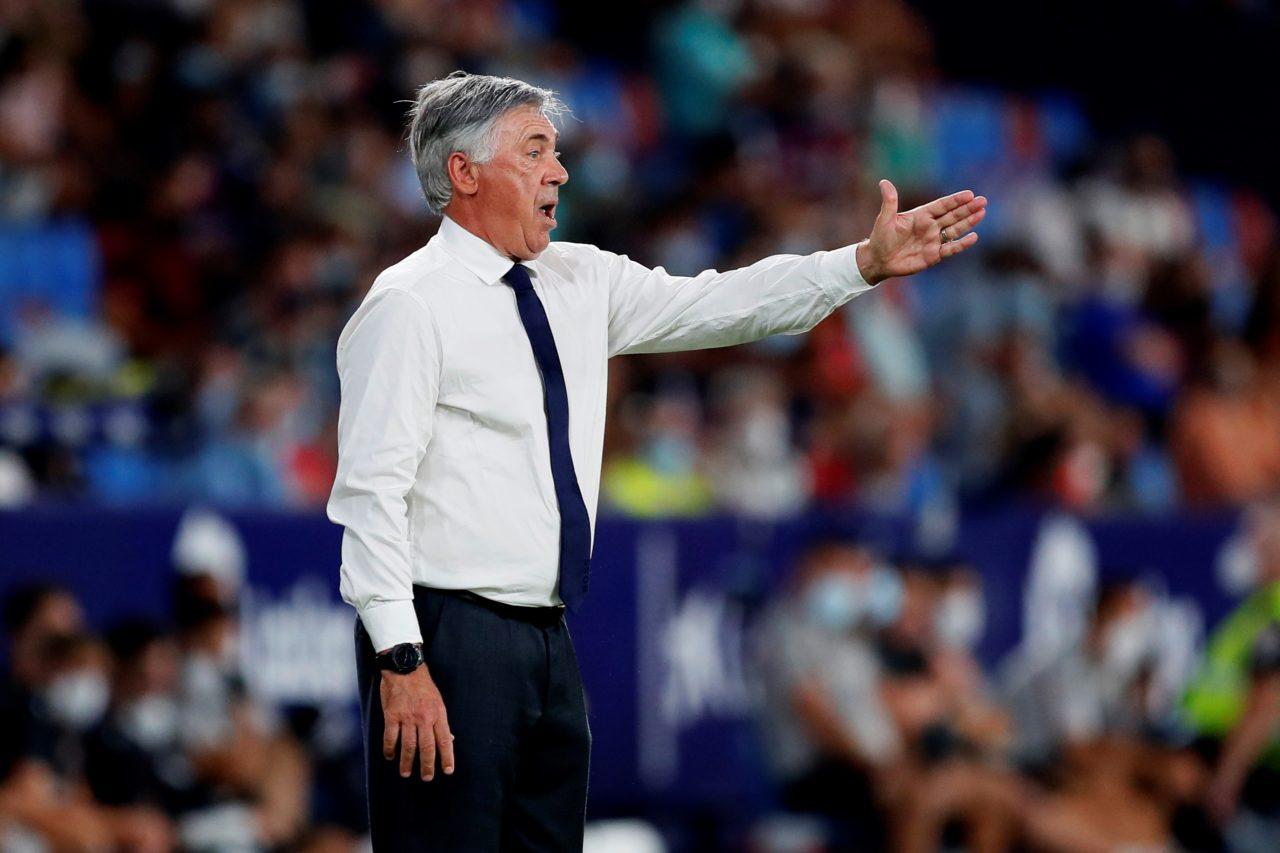 epa09425433 Real Madrid's head coach Carlo Ancelotti reacts during the Spanish LaLiga soccer match between Levante UD and Real Madrid at Ciutat de Valencia stadium in Valencia, esastern Spain, 22 August 2021. EPA-EFE/Biel Alino