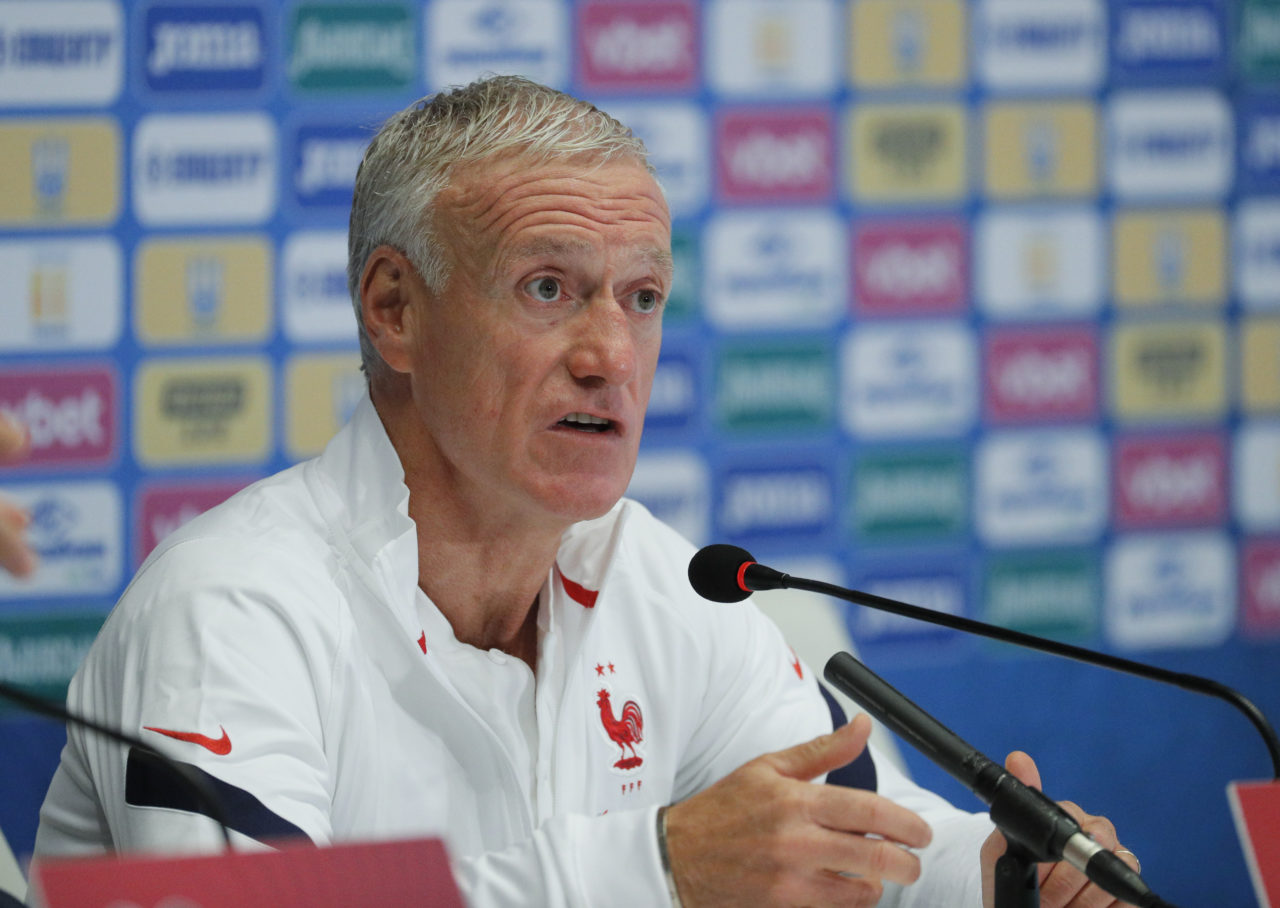 epa09445749 France national soccer team head coach Didier Deschamps attends a press conference in Kiev, Ukraine, 03 September 2021. Ukraine will face France in their 2022 FIFA World Cup qualification UEFA Group D soccer match in Kiev, Ukraine, 04 September 2021. EPA-EFE/SERGEY DOLZHENKO