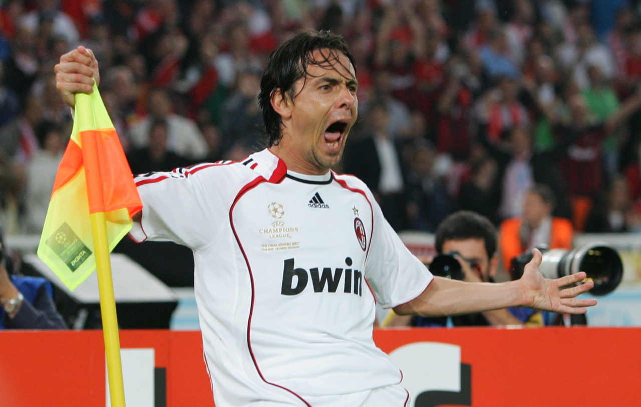 epa01017666 AC Milan's Filippo Inzaghi celebrates after scoring the 2-0 lead during the UEFA Champions League final at the Olympic stadium in Athens, Greece, 23 May 2007. EPA/ATHINAGORAS MYKONIATIS