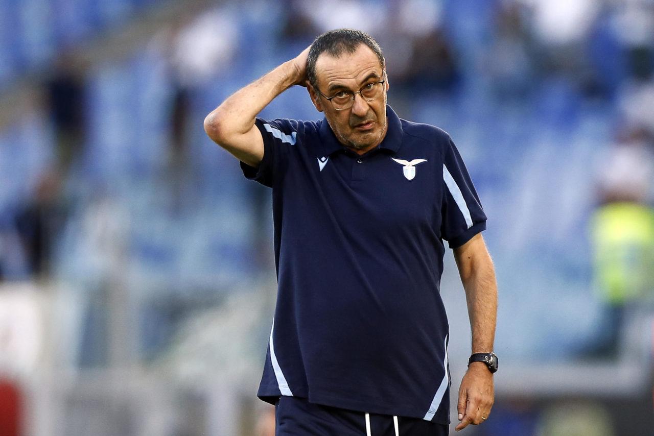 epa09434367 Lazio's coach Maurizio Sarri reacts during the Italian Serie A soccer match SS Lazio vs Spezia Calcio at Olimpico stadium in Rome, Italy, 28 August 2021. EPA-EFE/ANGELO CARCONI