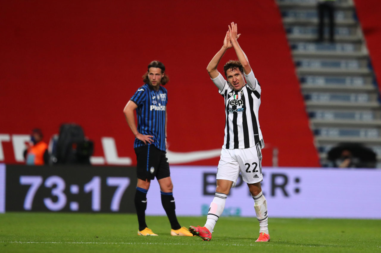 epa09213801 Juventus' Federico Chiesa (R) celebrates after scoring during the Italian Cup final soccer match between Atalanta BC and Juventus FC at Mapei Stadium in Reggio Emilia, Italy, 19 May 2021. EPA-EFE/PAOLO MAGNI