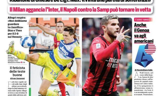 Documentos de hoy - Los problemas de la Juve persisten, el Milan atrapa al Inter
