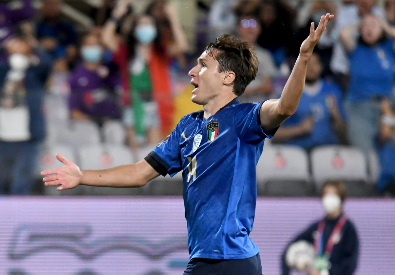 epa09444052 Italy's forward Federico Chiesa reacts during the FIFA World Cup 2022 qualifying soccer match between Italy and Bulgaria at the Artemio Franchi stadium in Florence, Italy, 02 September 2021. EPA-EFE/CLAUDIO GIOVANNINI