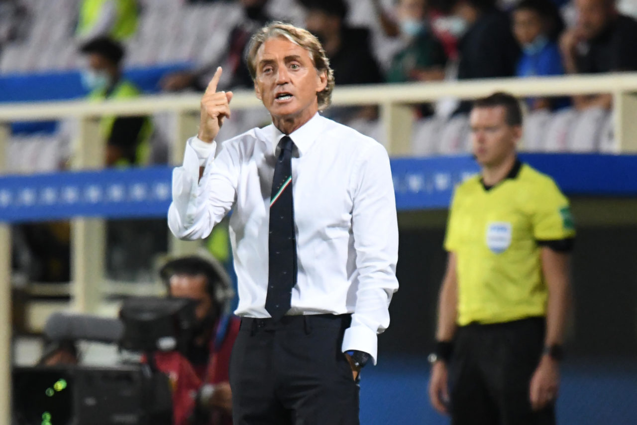 epa09443867 Italy's head coach Roberto Mancini reacts during the FIFA World Cup 2022 qualifying soccer match between Italy and Bulgaria at the Artemio Franchi stadium in Florence, Italy, 02 September 2021. EPA-EFE/CLAUDIO GIOVANNINI