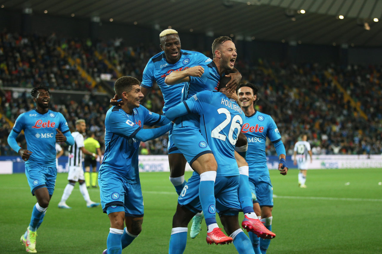 epa09478398 Napoli?s Amir Rrahmani (C) celebrates with teammates after scoring the 0-2 goal during the Italian Serie A soccer match between Udinese Calcio and SSC Napoli at the Friuli-Dacia Arena stadium in Udine, Italy, 20 September 2021. EPA-EFE/GABRIELE MENIS