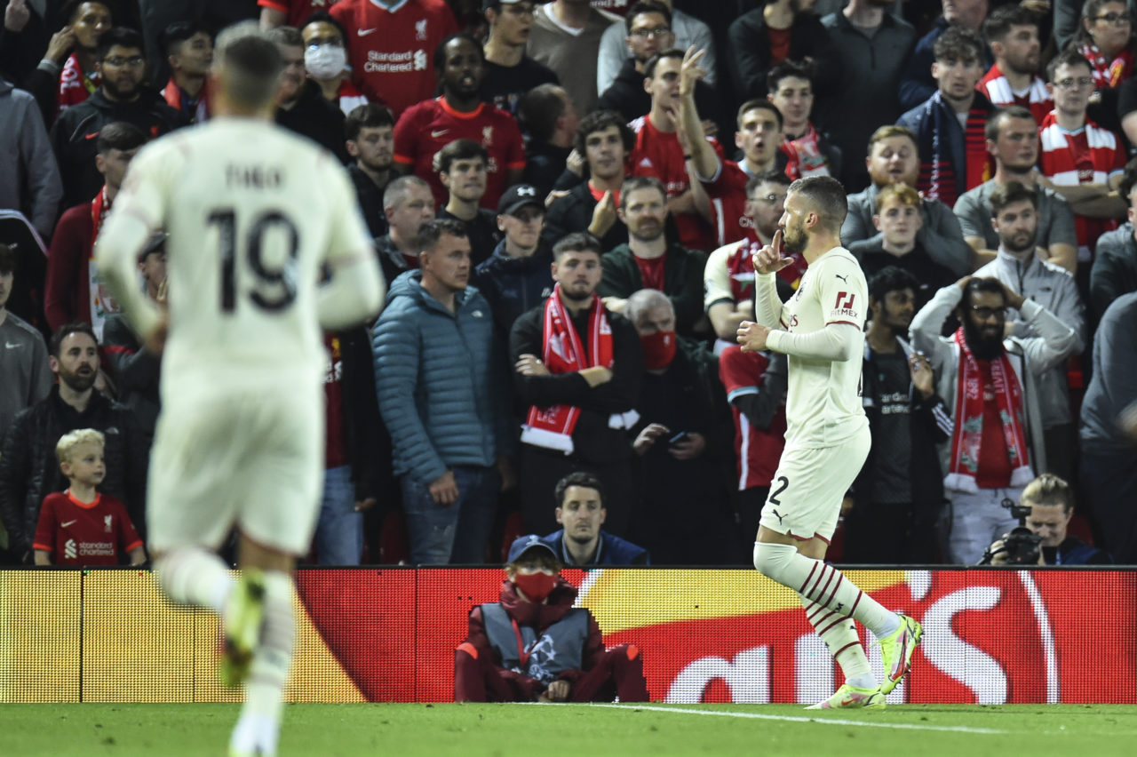 epa09470501 Ante Rebic of AC Milan celebrates after scoring a goal during the UEFA Champions League group B soccer match between Liverpool FC and AC Milan in Liverpool, Britain, 15 September 2021. EPA-EFE/Peter Powell
