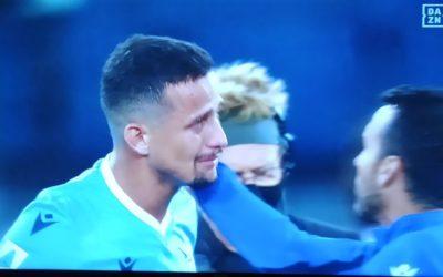 Lazio defender Luiz Felipe in tears after red card