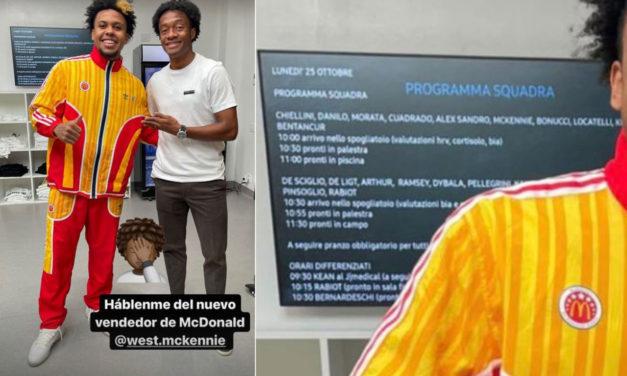 Cuadrado joked with McKennie and revealed Juventus' training programme