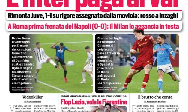 Today's Papers – Inter anger at VAR, Roma stall Napoli