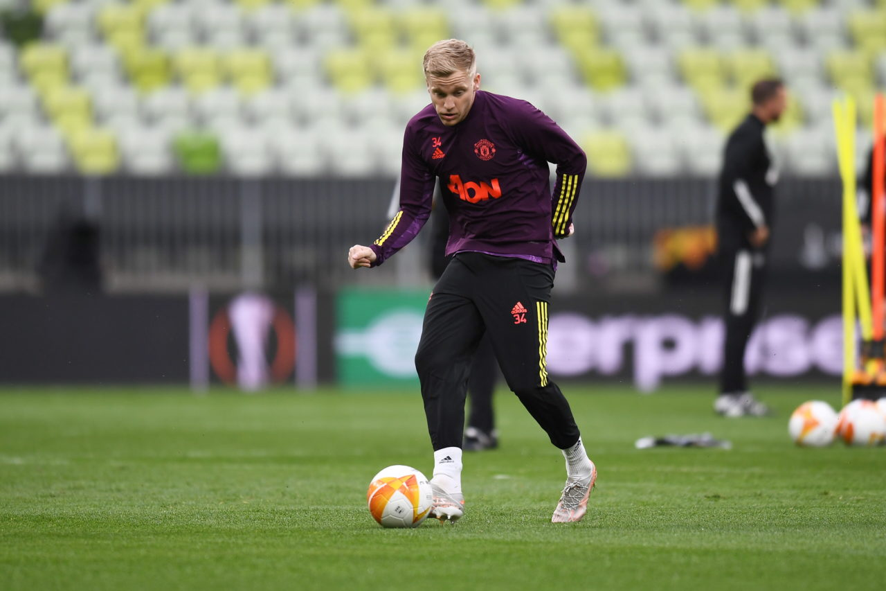 epa09227416 Donny van de Beek of Manchester United during their team's training session in Gdansk, Poland, 25 May 2021. Manchester United will face Villarreal CF in the UEFA Europa League final soccer match on 26 May 2021 in Gdansk. EPA-EFE/MARCIN GADOMSKI POLAND OUT