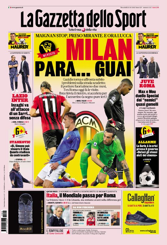 Today's Papers – Milan cursed, De Ligt like CR7 thumbnail